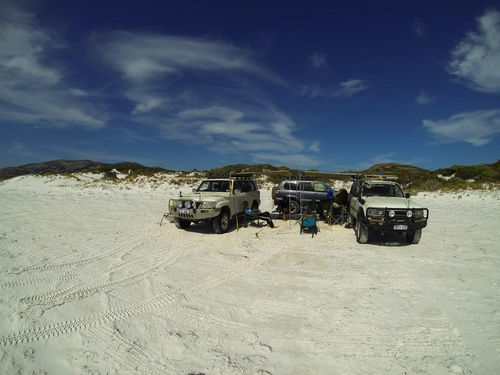 Set up for the day at Thomas River