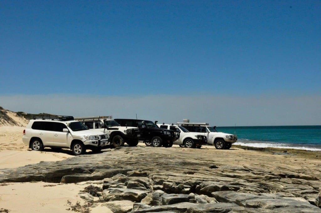 Parked on flat rocks