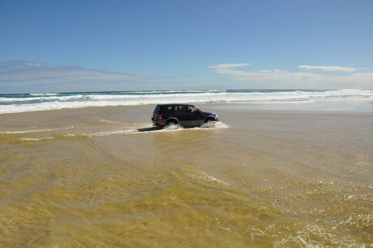 Drive slowly through salt water