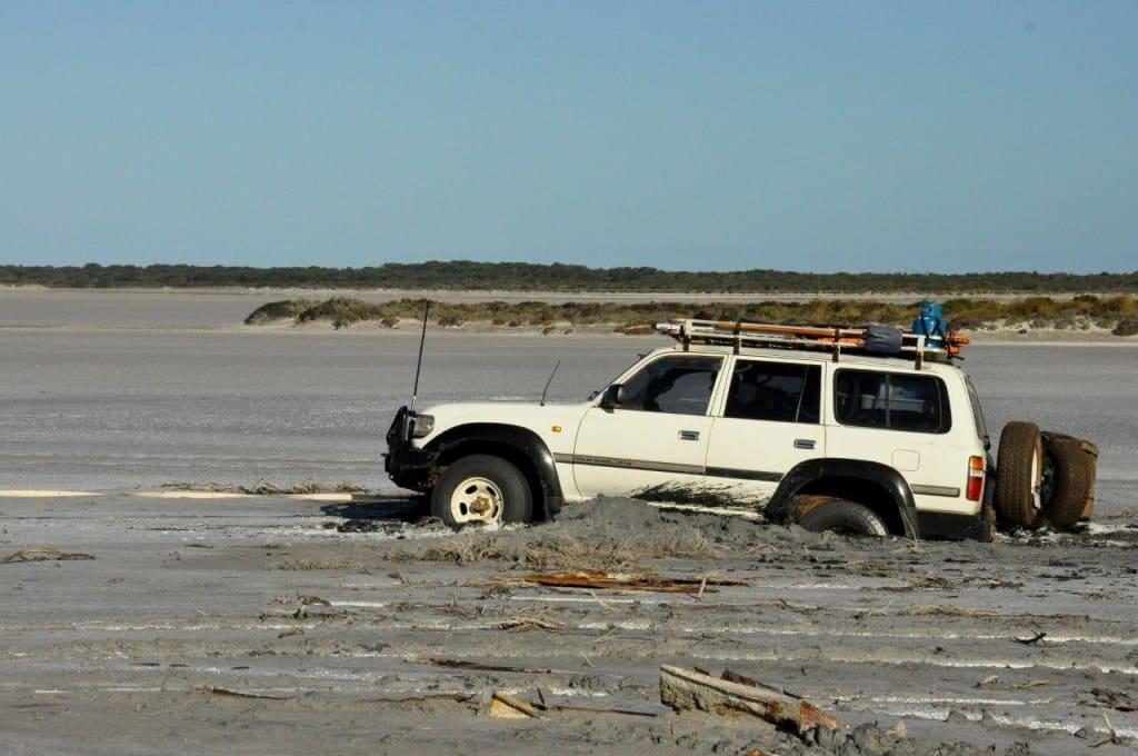 Bogged in a salt lake