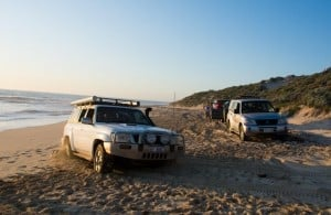 4WD bogged on the beach