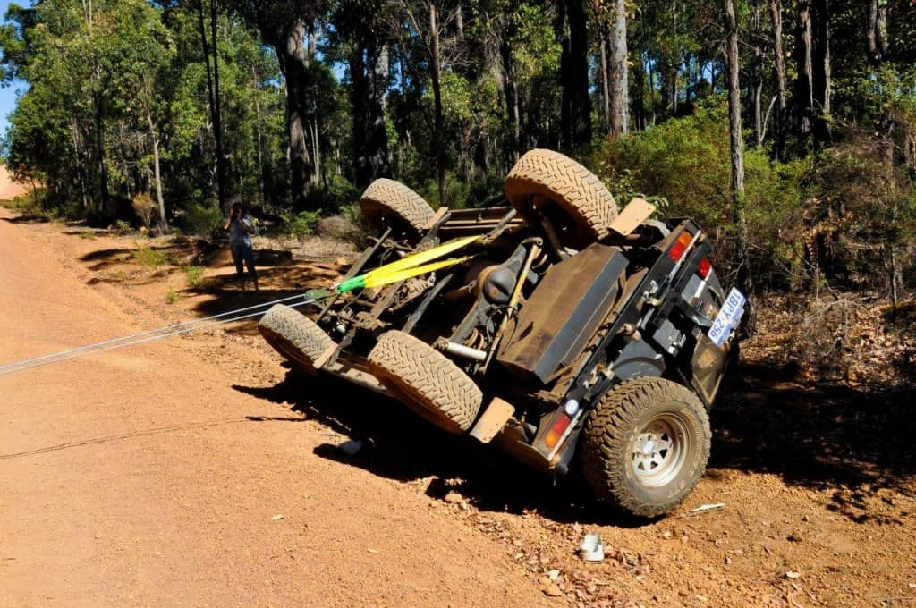 Gravel road rollover