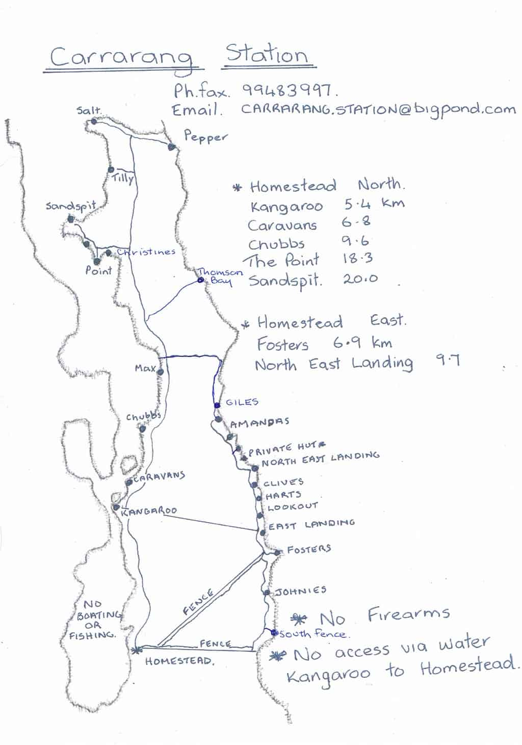 Carrarang station map