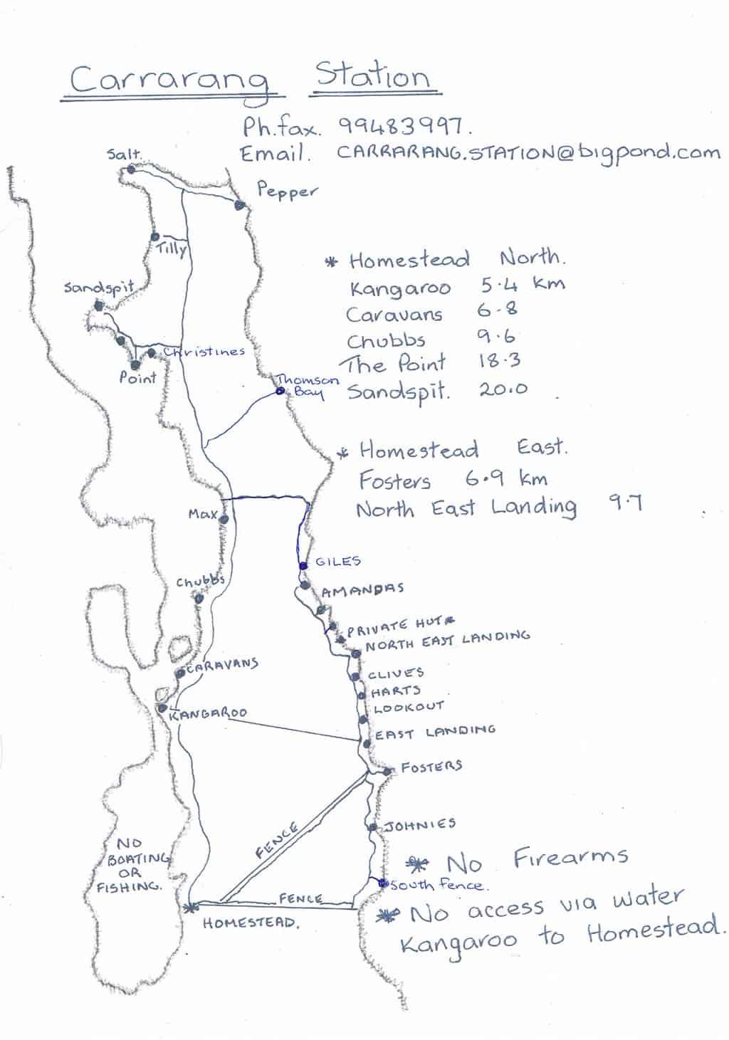 Carrarang station map