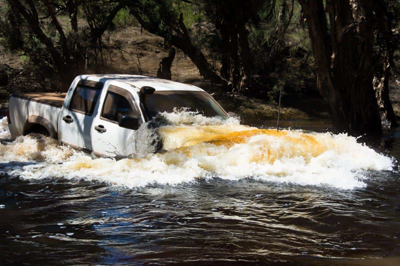 Water crossing in a 4WD