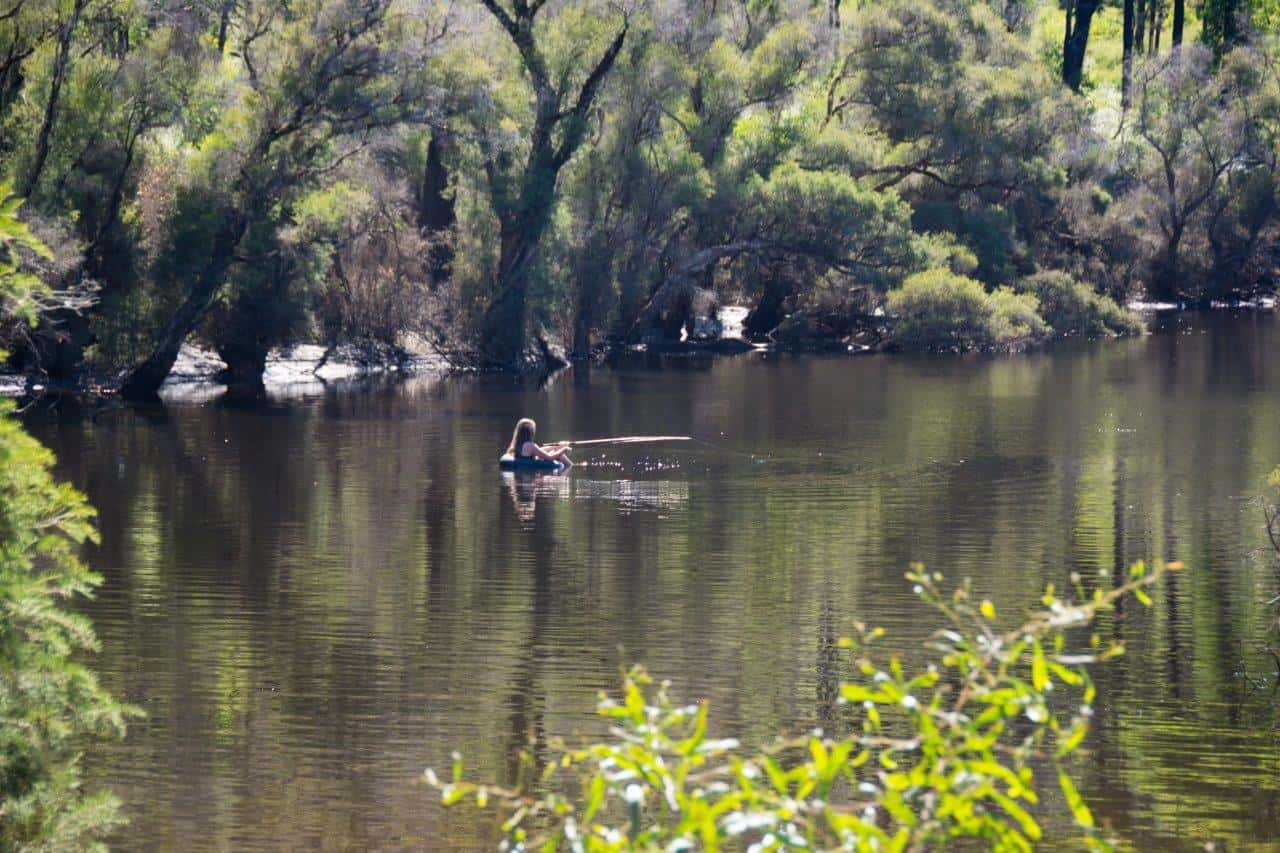 Relaxing in the river at Dwellingup