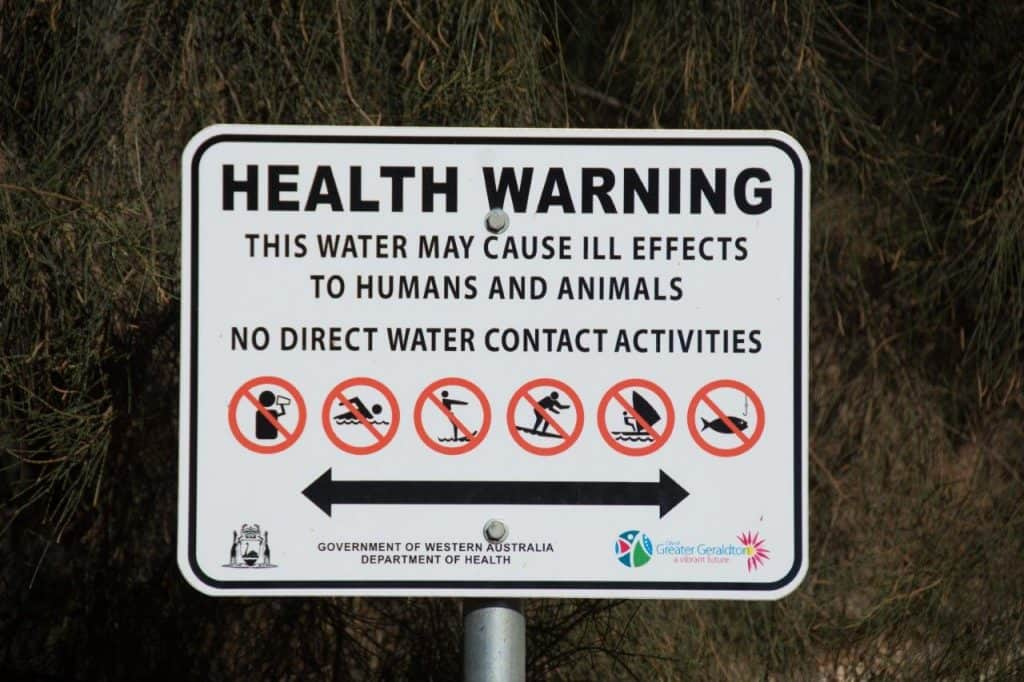 Warning for swimming