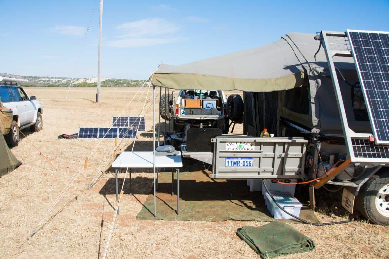 12V Solar farm while camping