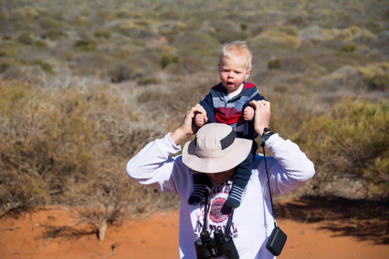 Granddad shoulder ride with Oliver