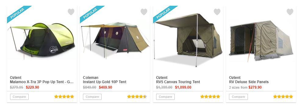 Snowys tent pricing
