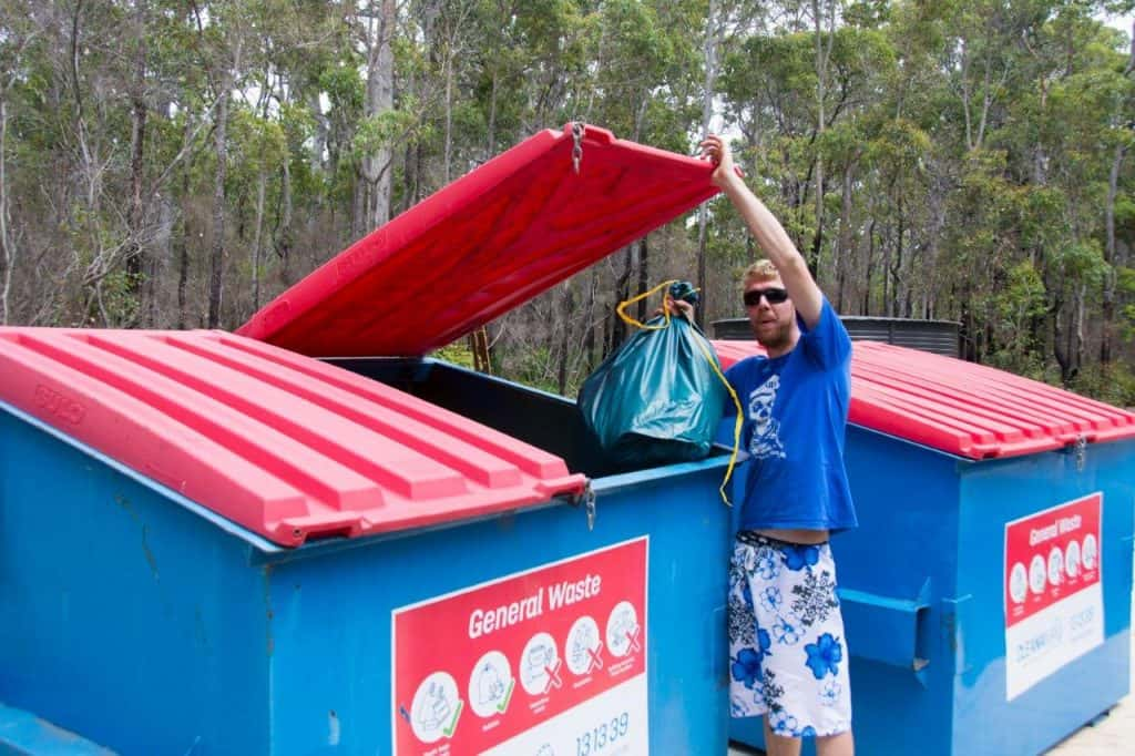 Camping rubbish bins in WA