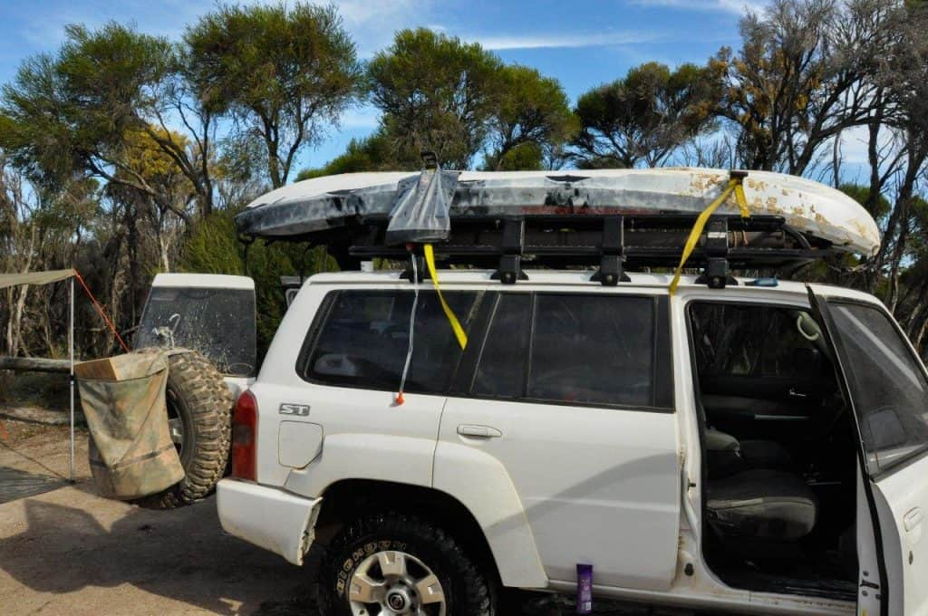 Solar shower bag and 4WD