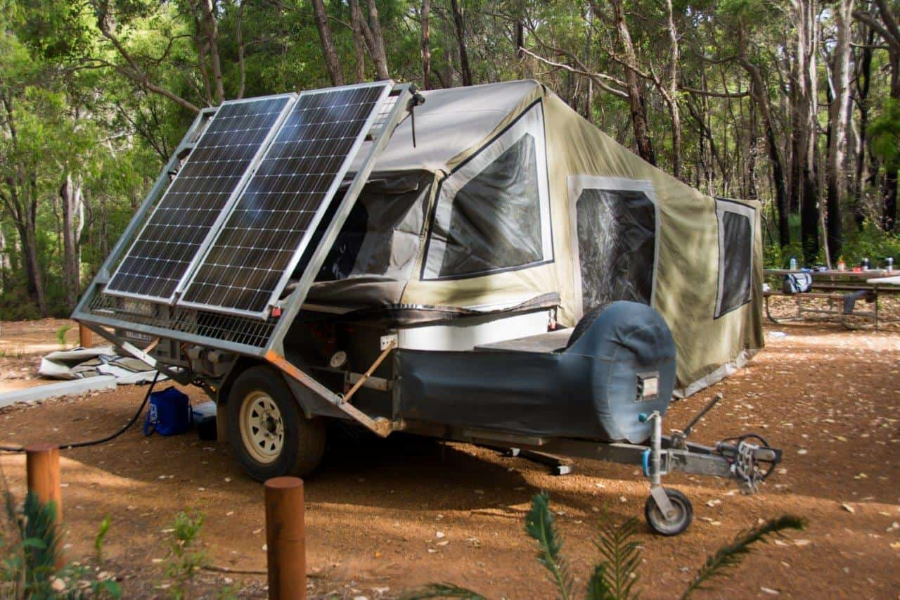Solar panels on our camper trailer