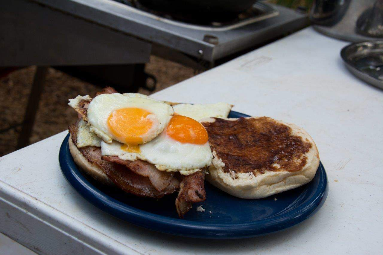 Bacon and Egg Burger while camping