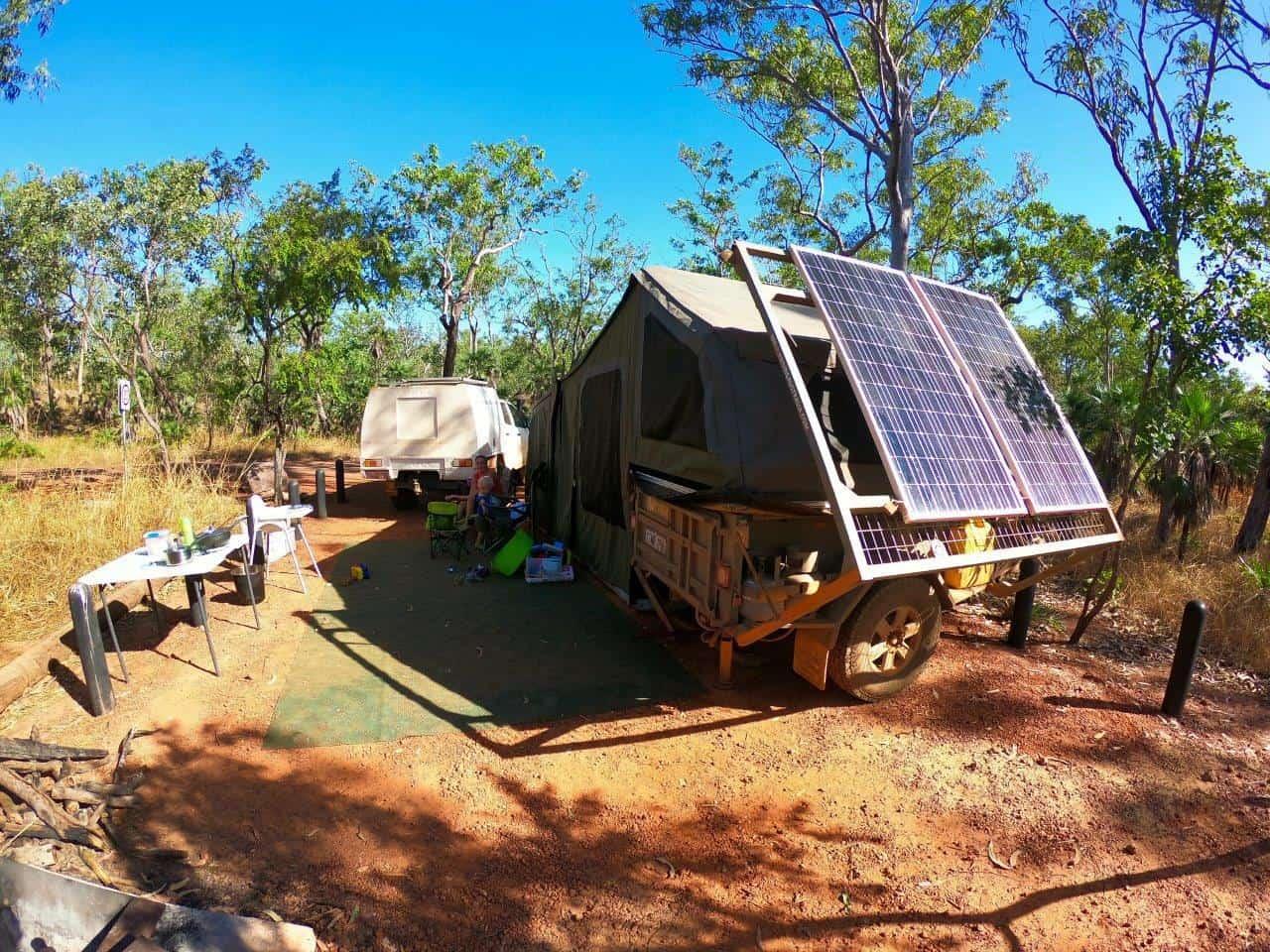 Caravan camping setup