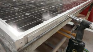 Solar panel bracing to stiffen it