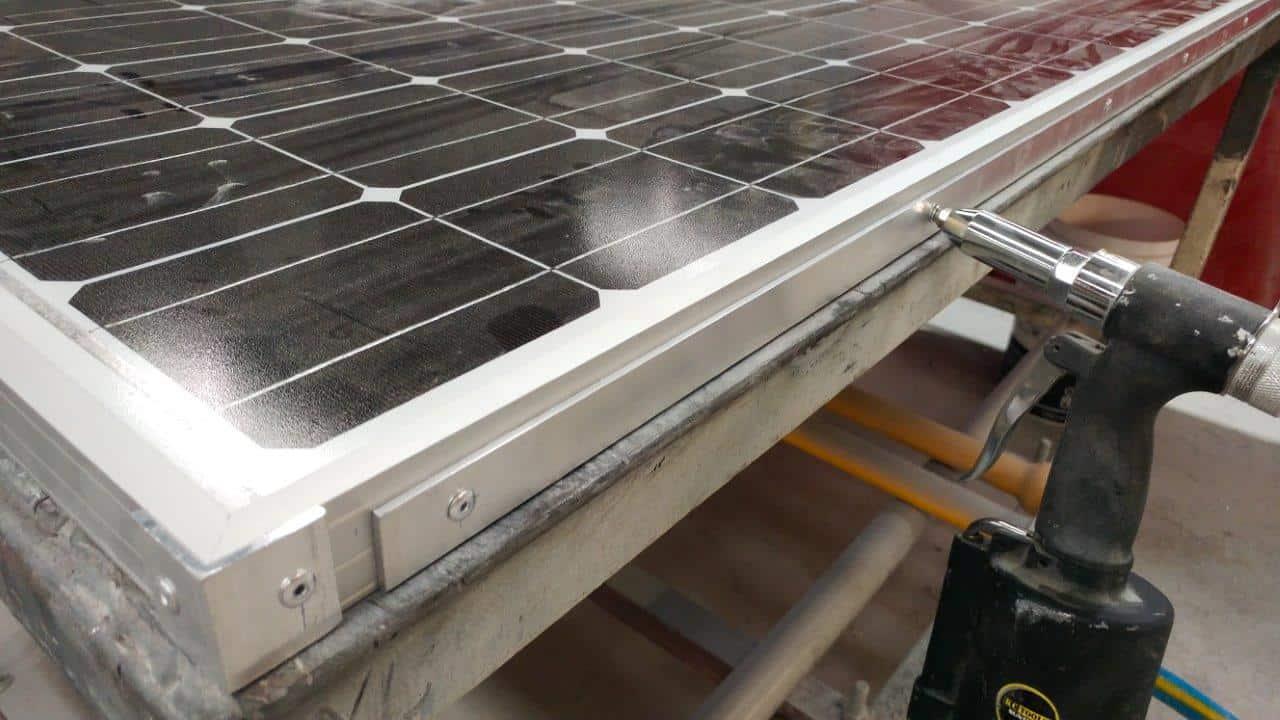 Solar panel bracing to stiffen it