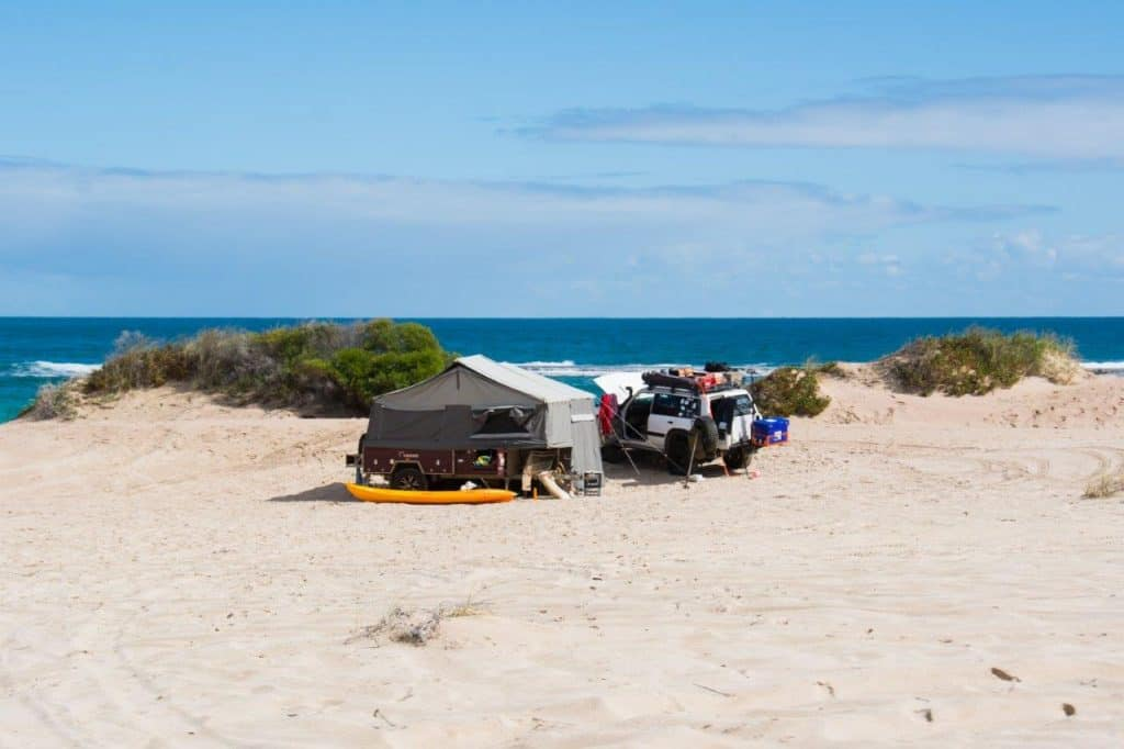 Camping at Lucky Bay Kalbarri