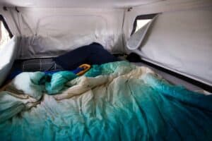 Queen bed in the lifestyle camper