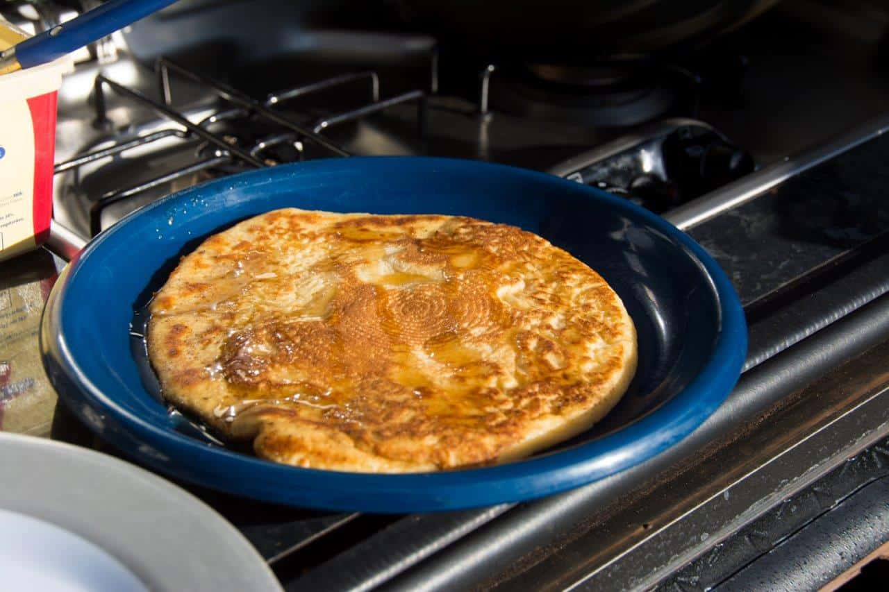 Pancakes when camping