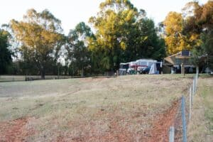 Camping next to the paddock