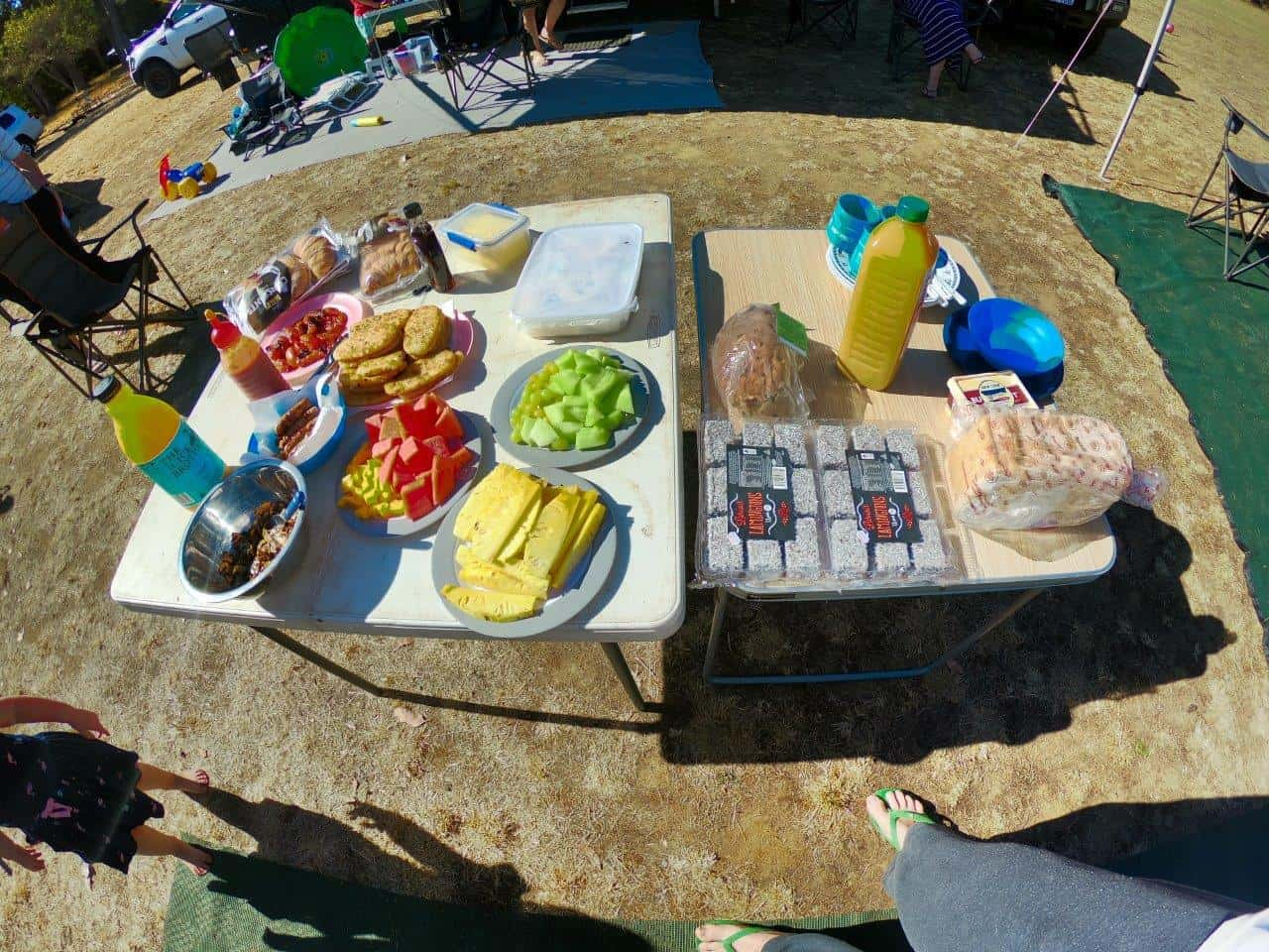 Group camping breakfast
