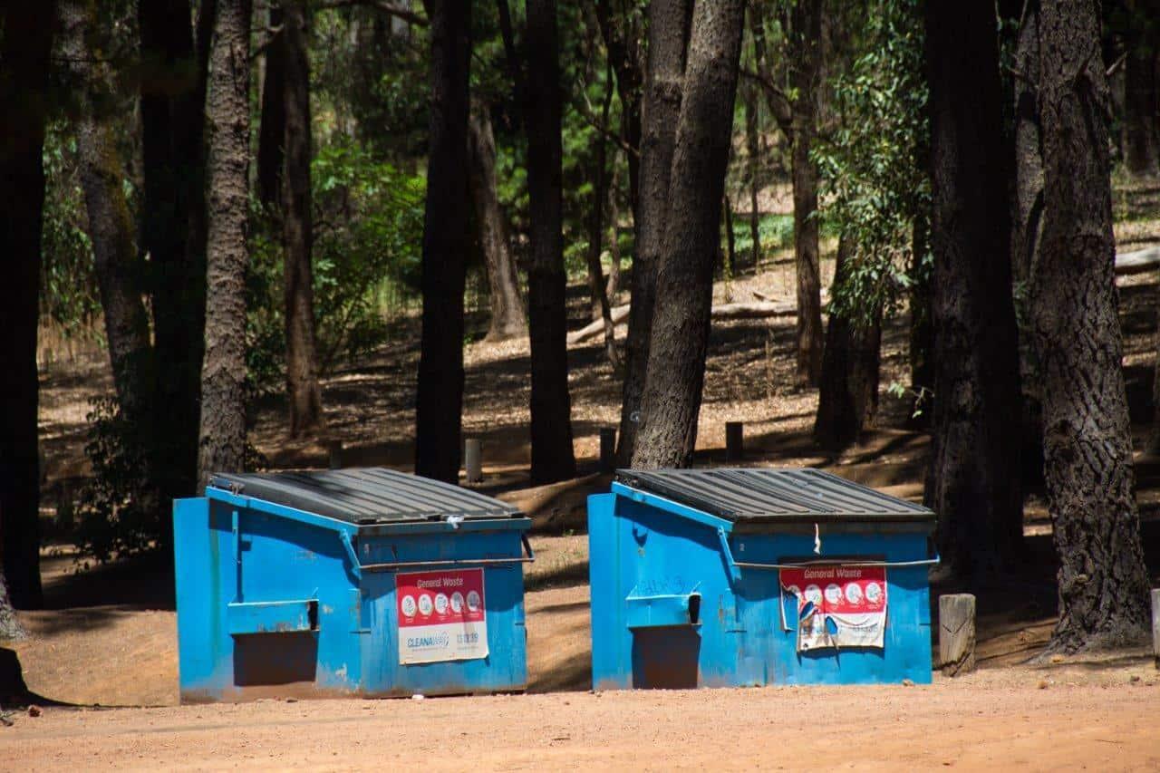 Rubbish bins at Dwellingup