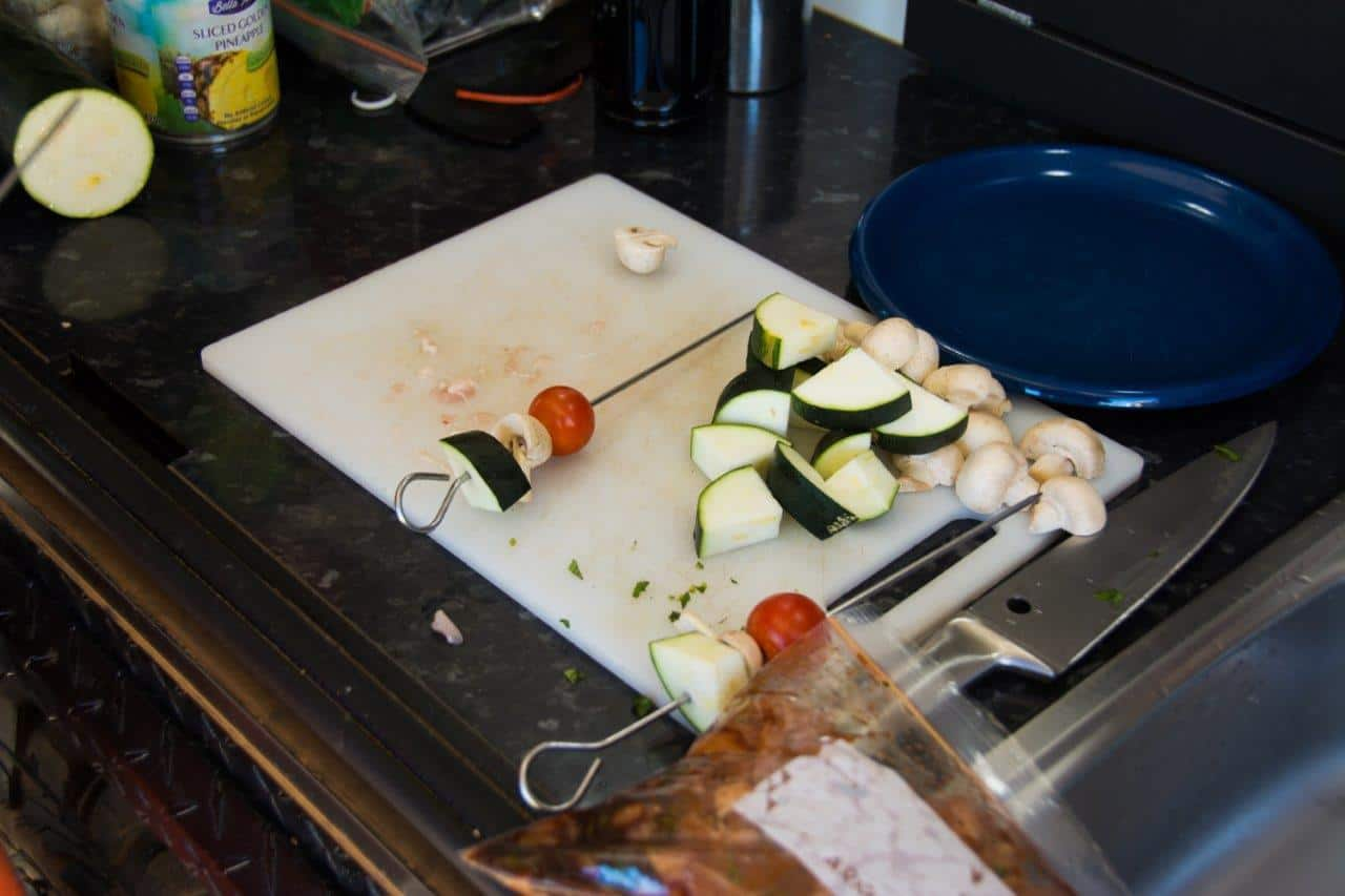 Making the kebabs