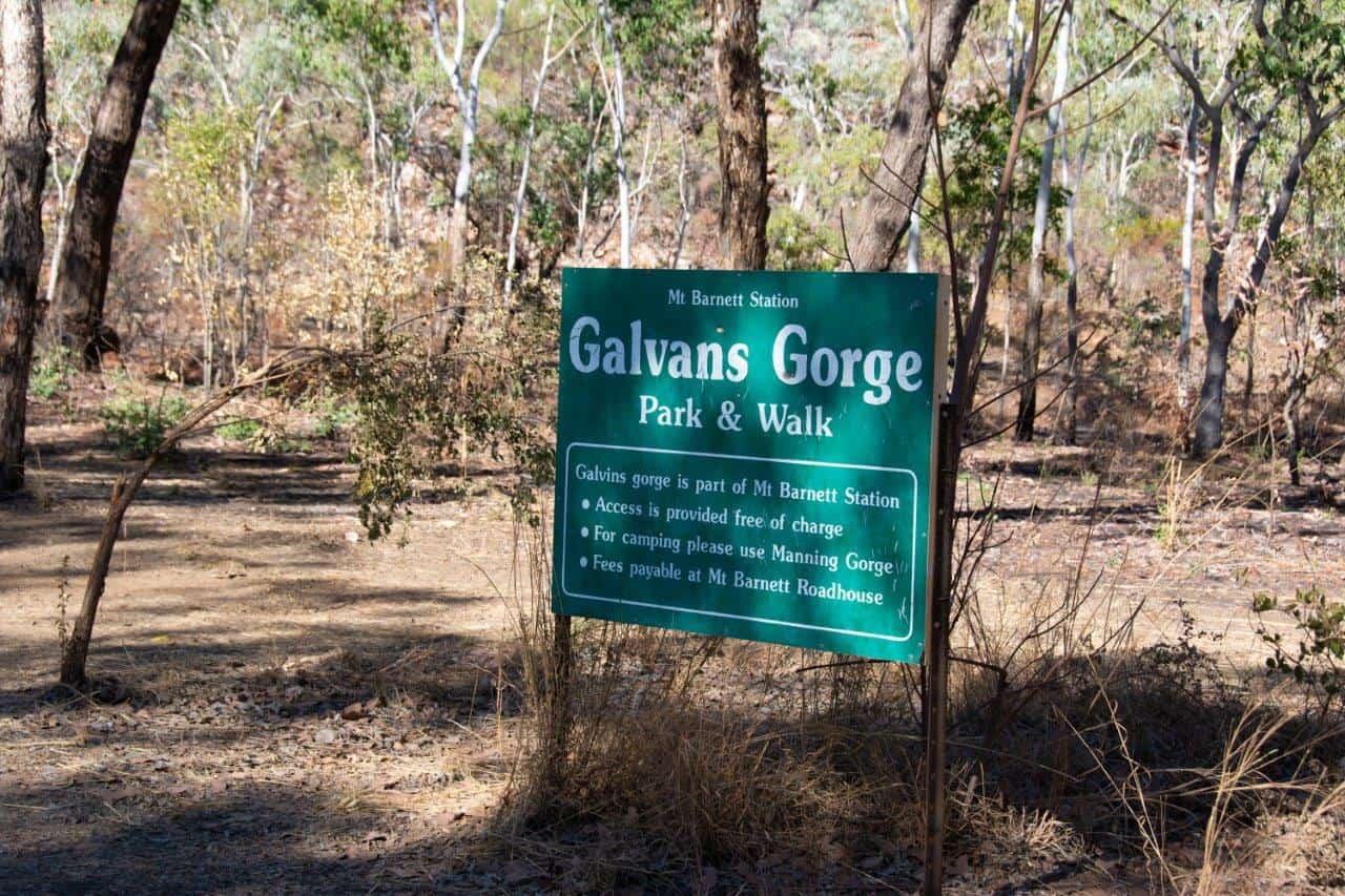 Galvans Gorge Sign