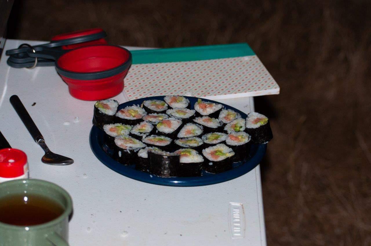 Sushi Rolls when camping