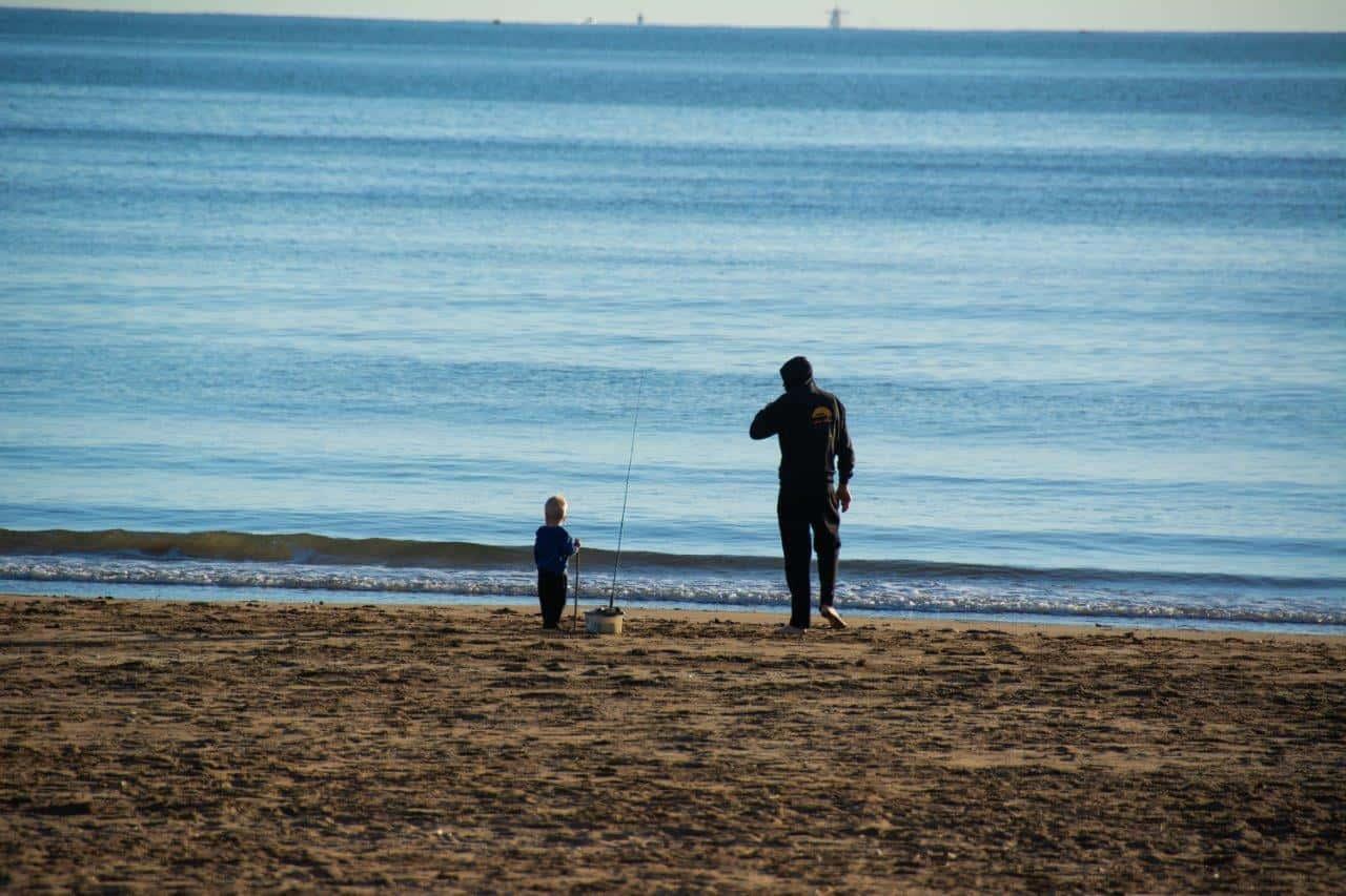 Fishing at the beach