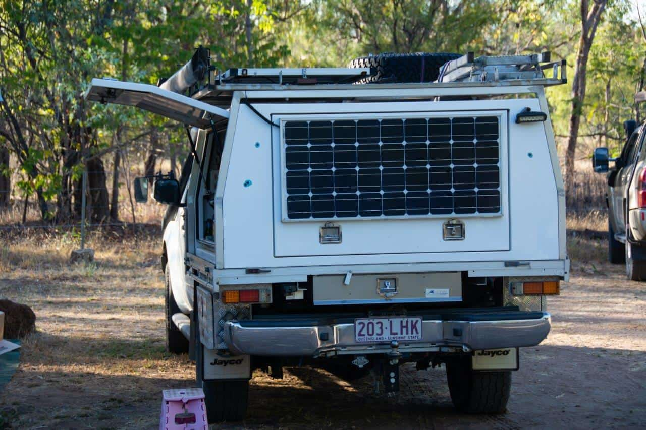 Rear mounted solar panel