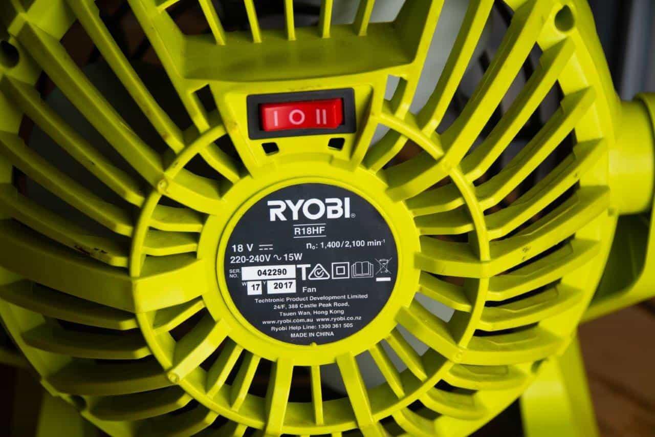 18V Ryobi Fan Specs