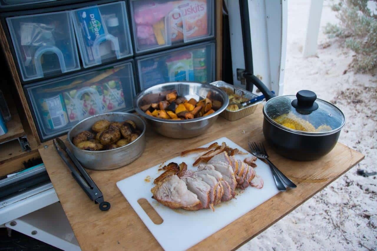 Roast pork camping