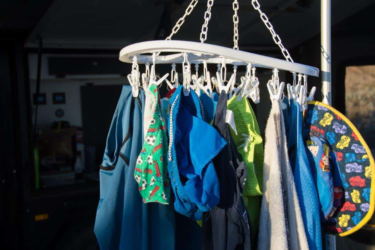 Drying clothes when camping